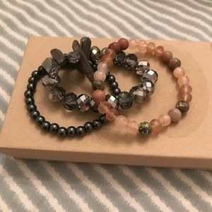 Jewelry - Metallic and Pink Stackable Bracelets